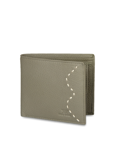 Aditi Wasan Men Olive Green Leather Textured Two Fold Wallet