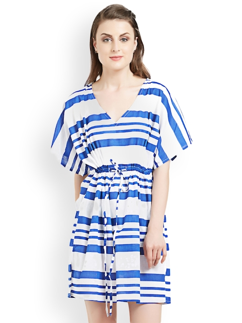 The Beach Company Women Blue & White Striped Cover-Up Dress