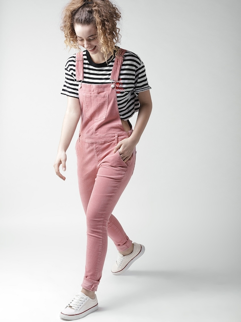FOREVER 21 Women Dusty Pink Solid Corduroy Dungarees