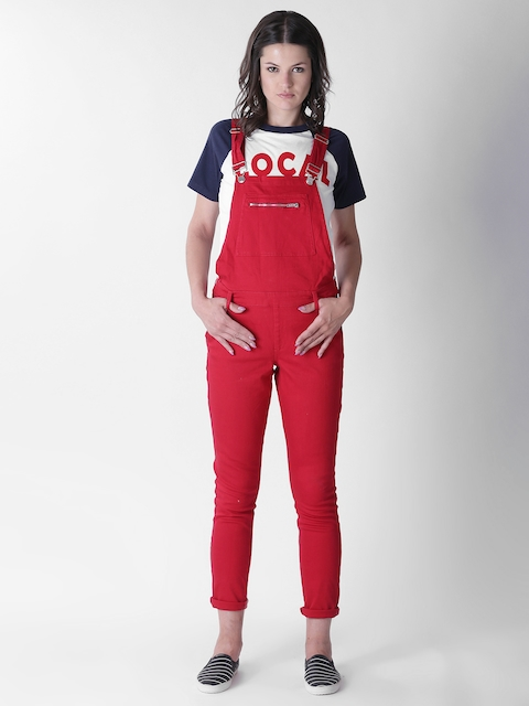 FOREVER 21 Red Solid Denim Dungarees