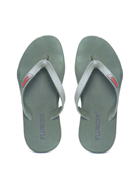 Flipside Men Green Solid Thong Flip-Flops