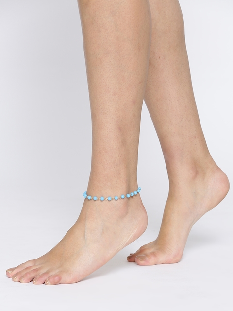 OOMPH Gold-Toned & Turquoise Blue Beaded Anklet
