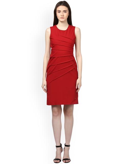Park Avenue Women Red Solid Sheath Dress