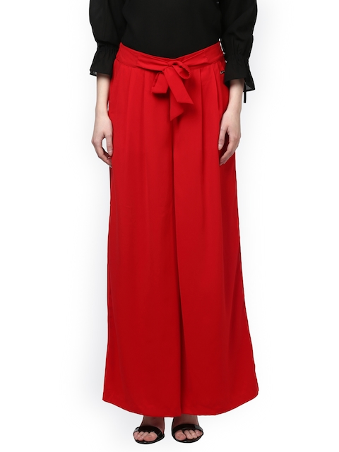Park Avenue Women Red Regular Fit Solid Parallel Trousers