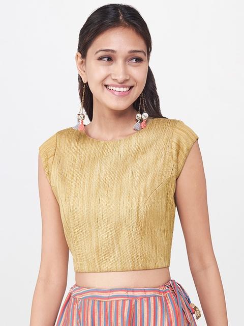 Global Desi Women Gold-Toned Self-Design Top