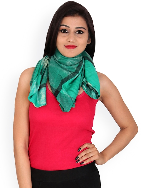 Anekaant Women Green Printed Stole
