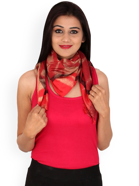 Anekaant Women Coral Red Printed Stole