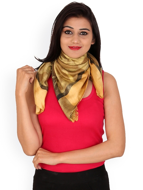 Anekaant Women Yellow Printed Stole