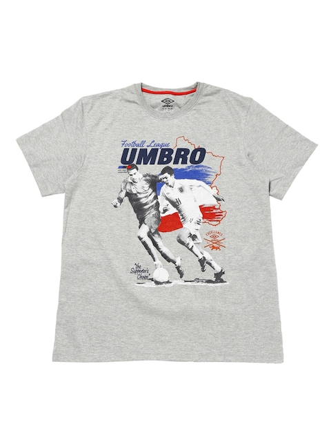 Umbro Men Grey Printed Round Neck T-shirt