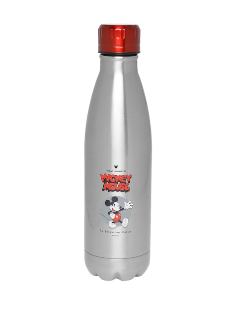 YK Disney Boys Silver-Toned Mickey Mouse Print Hot & Cold Sipper Bottle 500 ml