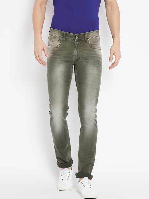 Numero Uno Men Olive Green Classic Slim Fit Low-Rise Clean Look Stretchable Jeans