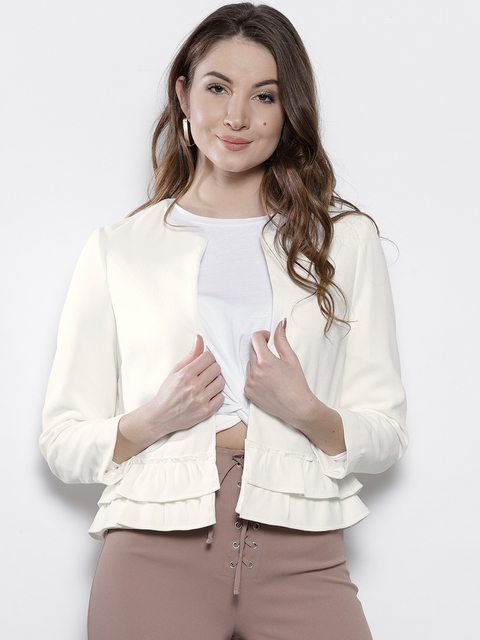 DOROTHY PERKINS Women White Solid Tailored Jacket