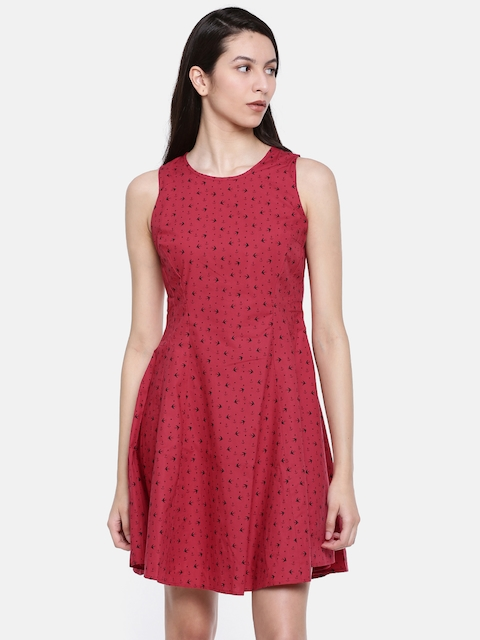 Allen Solly Woman Red Printed A-Line Dress