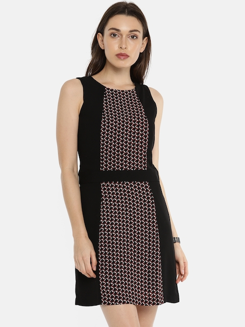 Allen Solly Woman Women Black & Red Printed A-Line Dress