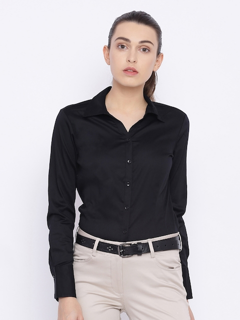 Allen Solly Woman Black Regular Fit Solid Formal Shirt
