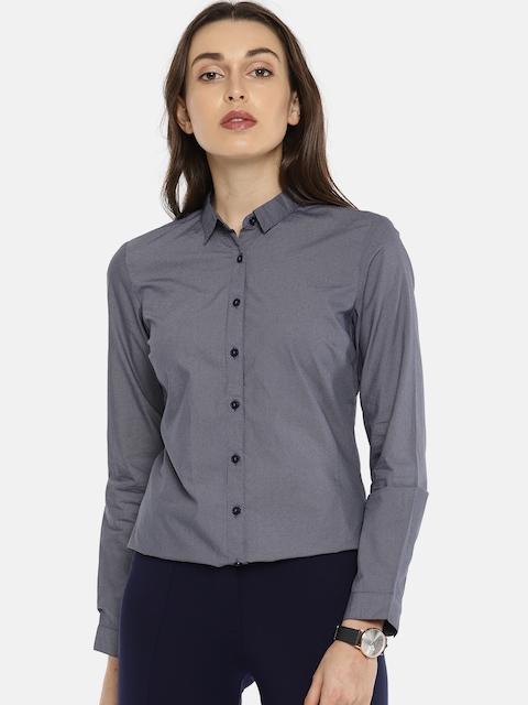 Allen Solly Woman Women Blue Regular Fit Printed Formal Shirt