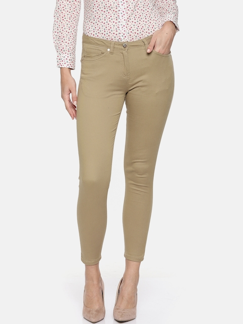 Allen Solly Woman Beige Slim Fit Solid Regular Trousers