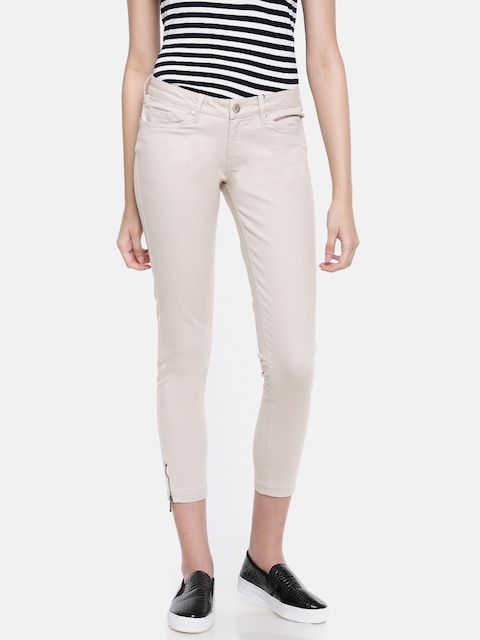 Allen Solly Woman Beige Regular Fit Mid-Rise Clean Look Cropped Stretchable Jeans
