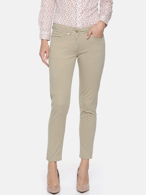 Allen Solly Woman Grey Slim Fit Solid Regular Trousers