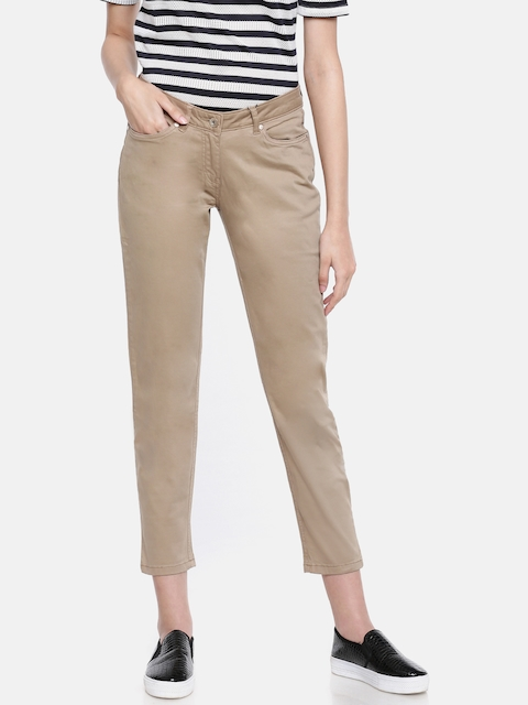 Allen Solly Woman Khaki Slim Fit Solid Cropped Regular Trousers