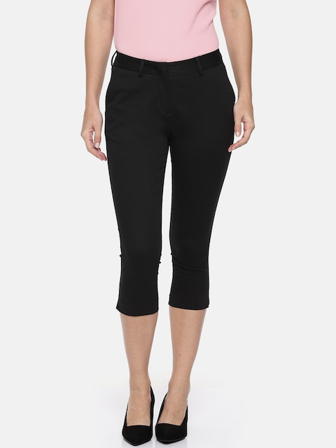 Allen Solly Woman Black Slim Fit Solid Cropped Regular Trousers
