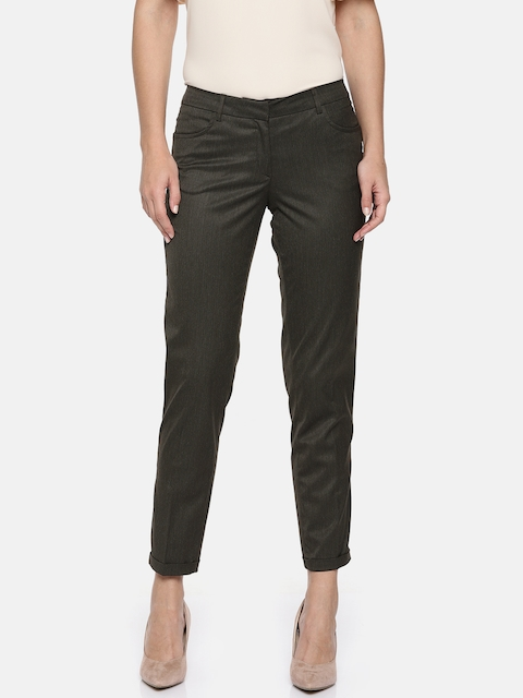 Allen Solly Woman Brown & Grey Slim Fit Solid Regular Trousers