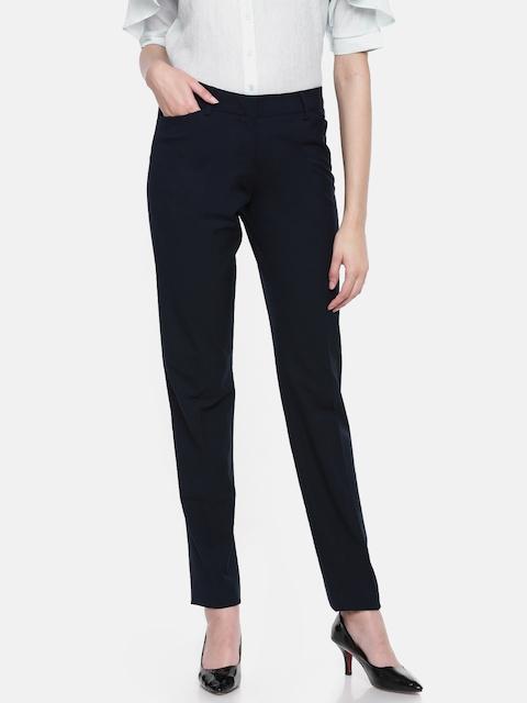 Allen Solly Woman Women Navy Blue Skinny Fit Solid Regular Trousers