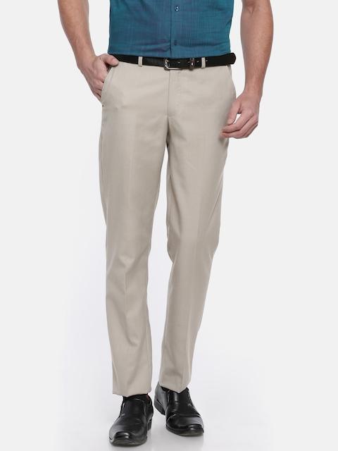 Peter England Men Beige Slim Fit Self Design Formal Trousers