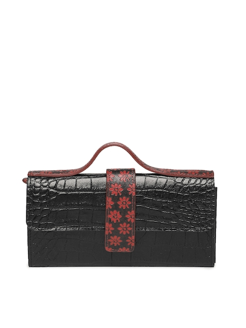 Holii Women Black & Red Textured Two Fold Wallet