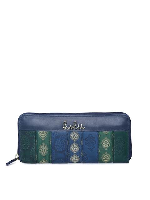Holii Women Blue Leather Self Design Zip Around Wallet