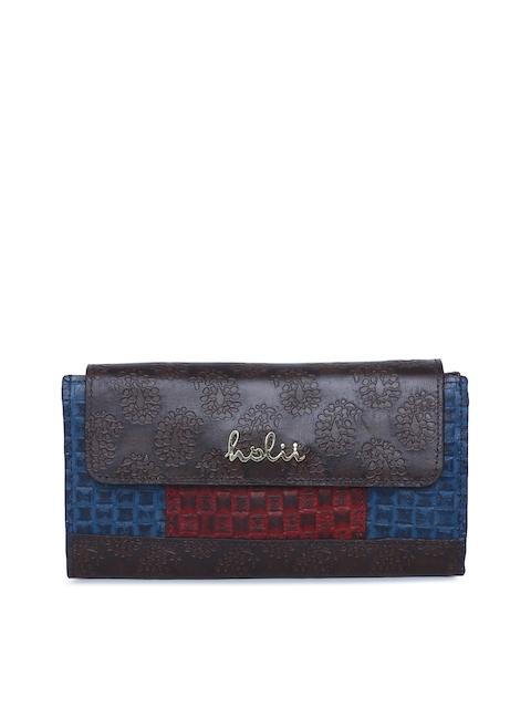 Holii Women Brown & Blue Self Design Two Fold Wallet