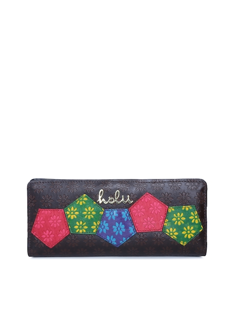 Holii Women Brown Self Design Leather Two Fold Wallet