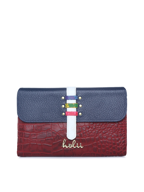 Holii Women Blue & Red Textured Leather Two Fold Wallet