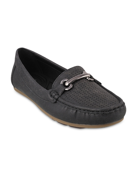Mochi Women Black Solid Loafers