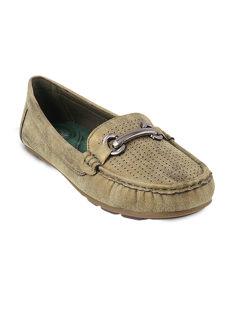 Mochi Women Olive Green Solid Loafers