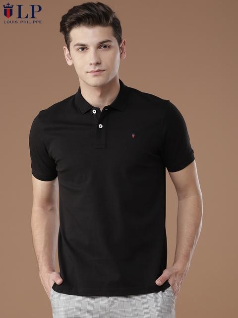 Louis Philippe Sport Men Black Solid Polo Collar T-shirt