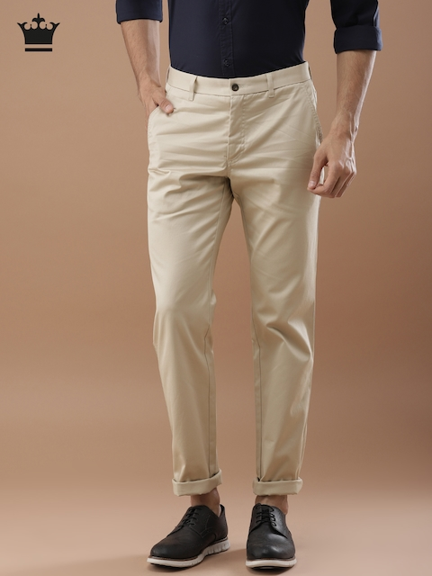 Louis Philippe Men Beige Slim Fit Solid Casual Trousers
