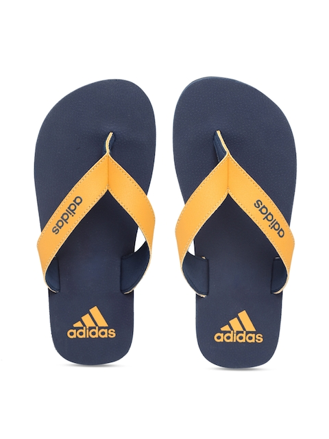 Adidas Boys Mustard Yellow & Navy Blue Solid Thong Flip-Flops