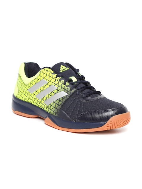 Adidas Men Navy & Florescent Green Net Nuts Indoor Badminton Shoes