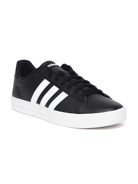 ADIDAS Men Black Daily 2.0 Leather Basketball Shoes