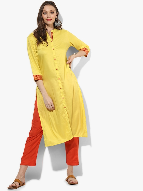 Sangria Women Yellow Solid Straight Kurta