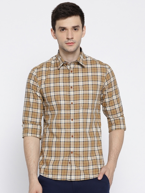 Indian Terrain Men Beige Slim Fit Checked Casual Shirt