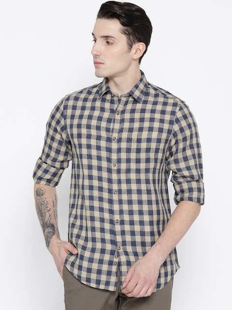 Indian Terrain Men Beige & Navy Blue Slim Fit Checked Linen Casual Shirt