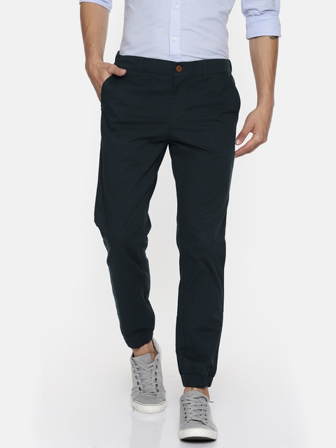 Indian Terrain Men Navy Blue Comfort Regular Fit Solid Joggers