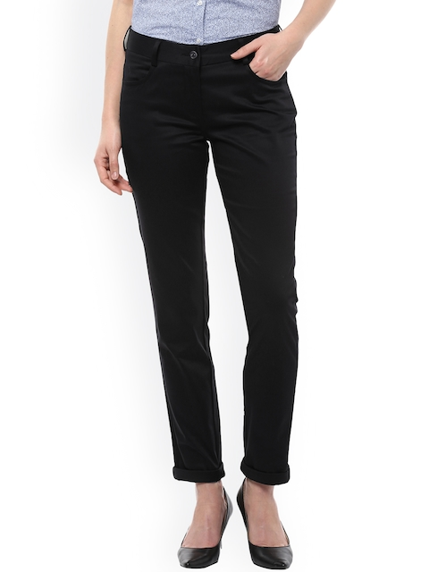 Allen Solly Woman Women Black Solid Regular Trousers