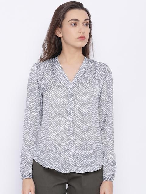 Allen Solly Woman Grey Regular Fit Printed Casual Shirt