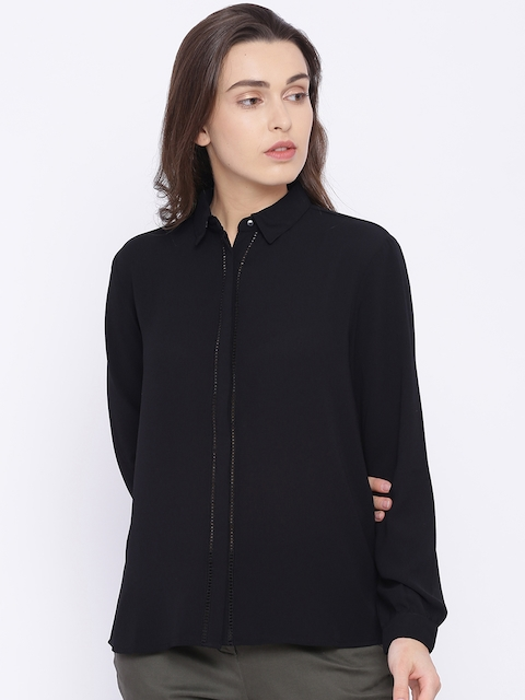 Allen Solly Woman Black Regular Fit Solid Casual Shirt