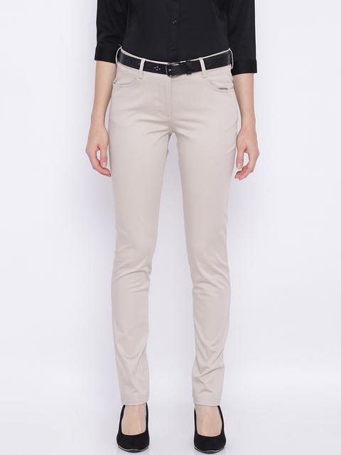 Allen Solly Woman Beige Regular Fit Solid Formal Trousers