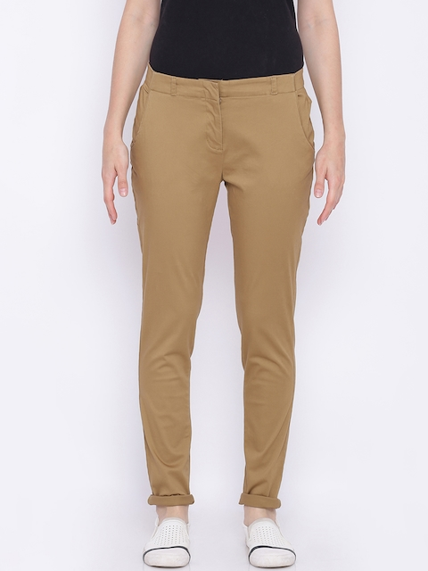 Allen Solly Woman Brown Regular Fit Solid Regular Trousers