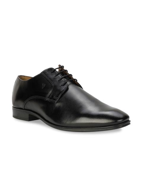 Van Heusen Black Solid Leather Derbys